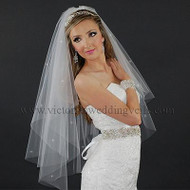 2 Layer Bridal Cut Edge Veil Rhinestones N22R