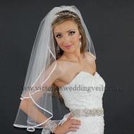 2 Layer Bridal Veil White 1/4 Satin Ribbon Edge N21-2