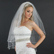 2 Layer Bridal Veil 1/8 White Satin Ribbon Edge N21-1