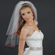 2 Layer Bridal Veil Apple Red Ribbon Edge N20-1