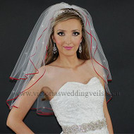 "2 Layer Bridal Veil 1/8"" Apple Red Ribbon Rhinestones N20R1"