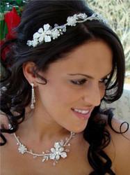 Swarovski Crystal Bridal Wedding Necklace Earring Set & Tiara A7802-8148