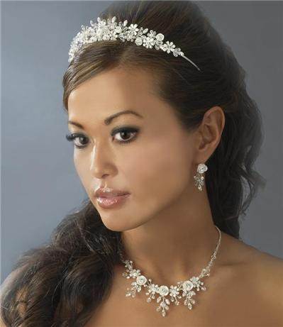 Couture Porcelain Flower Accented Bridal Wedding Tiara & Jewelry ...