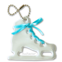 Figure skate soft reflector with turquoise satin lace and metal ball chain attachment. Width 6.5cm, Height 6 cm (2 5/8 by 2 3/8 inches).