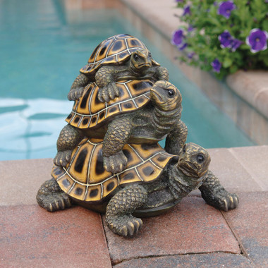 Design Toscano Threeu0027s A Crowd Stacked Turtle Statue Pond Or Water Garden  Outdoor Decor