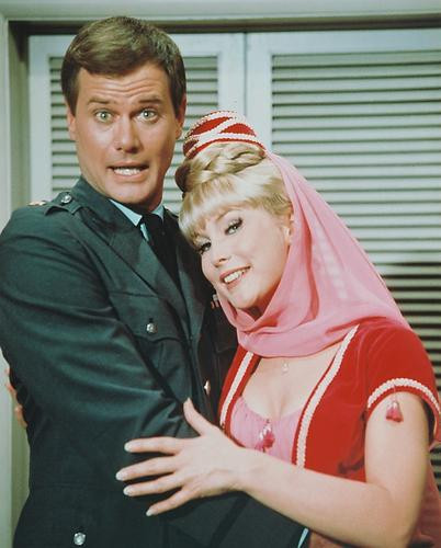This is an image of 217591 Barbara Eden & Larry Hagman Photograph & Poster