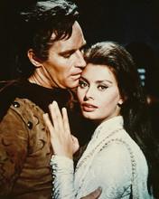 This is an image of 216543 Charlton Heston & Sophia Loren Photograph & Poster