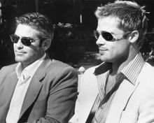 This is an image of 171358 George Clooney and Brad Pitt Photograph & Poster