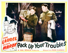 This is an image of Vintage Reproduction Lobby Card of Pack Up Your Troubles 296248
