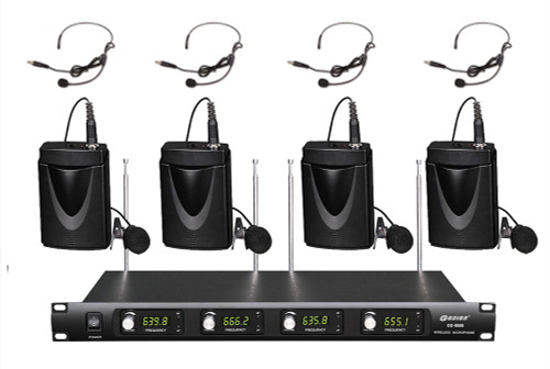 4 Channel 4 Lapel 4 Headset Mics UHF WIRELESS MICROPHONE SYSTEM OD 4 BODYPACK