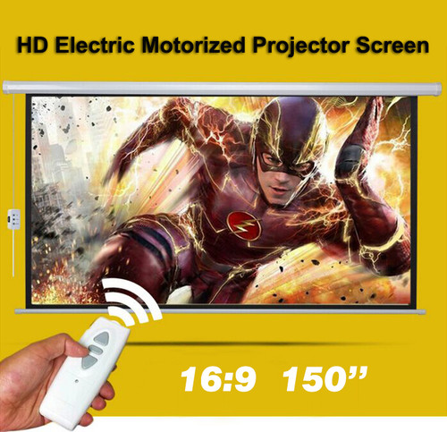 150 Inch Projector Screen Electronic Home Theater Cinema HD 3D Remote Control 4x3