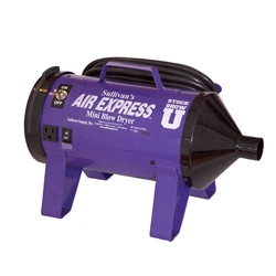 The miniature version of our popular Air Express III blower. Equipped with a single high powered, high efficiency motor. The power will surprise you! Only draws 11 amps of electricity. Includes the patented aerodynamic funnel front end cap design for more air velocity and the unique patented cartridge filter system. Includes supplemental heat booster to increase air temperature for faster drying. Available in all standard colors. Ideal for the small animal or pet exhibitor.  Also handy for a variety of miscellaneous uses including blow drying the water droplets off of motorcycles.  Mini Blower comes with a 15' hose.