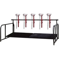"""Five adjustable head show rail with floor support. New head piece design is the same as our sheep stands. New floor support features heavy duty angle in both the front and back. Height of the support in the front is 6"""" off floor and the back is adjustable from 2"""" to 6"""". Show Rail measures 6' long x 4' wide x 2' high. Floor not included."""