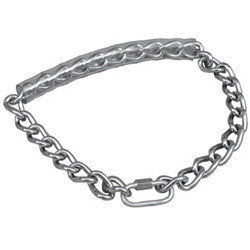 """This chain collar is made from extra strength welded steel rings which will not rust or tarnish. Chain is 22"""" in length."""