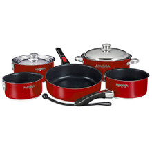 Magma Nesting 10-Piece Induction Compatible Cookware - Magma Red Exterior & Slate Black A10-366MR-2-IND