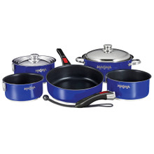 Magma Nesting 10-Piece Cookware - Cobalt Blue Exterior & Slate Black Ceramica A10-366CB-2