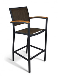 Gar Bayhead Performance Weave Outdoor Bar Stool with Arms