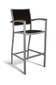 Gar Bayhead Woven Outdoor Bar Stool with Arms