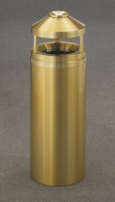 Glaro H1202BE Atlantis Canopy Top Ash and Trash Receptacle, 12 x 39, 12 Gallon - Satin Brass