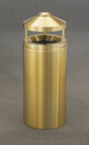 Glaro H2002BE Atlantis Canopy Top Ash and Trash Receptacle, 20 x 42, 33 Gallon - Satin Brass