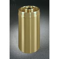Glaro D2035BE Atlantis Donut Top Ash and Trash Receptacle, 20 x 35, 33 Gallon - Satin Brass