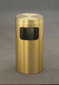 Glaro C1566BE Atlantis Flat Top Trash Can, 15 x 31, 10 Gallon - Satin Brass