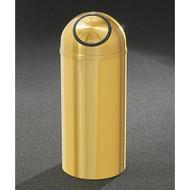 Glaro S1536BE Atlantis Self-Closing Dome Top Trash Can, 15 x 36, 16 Gallon - Satin Brass