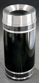 Glaro Monte Carlo Satin Aluminum Funnel Top Trash Can, 15 x 33, 16 Gallon, F1556