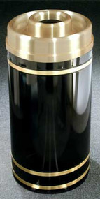 Glaro Monte Carlo Satin Brass Donut Top Ash and Trash Receptacle, 20 x 35, 33 Gallon, D2055