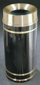 Glaro Monte Carlo Satin Brass Funnel Top Trash Can, 12 x 32, 12 Gallon, F1255