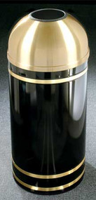 Glaro T1255 Monte Carlo Satin Brass Open Dome Top Trash Can, 12 x 30, 8 Gallon