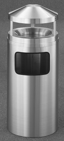 Glaro H1203SA New Yorker Canopy Top Ash and Trash Receptacle, 12 x 39, 6 Gallon - Satin Aluminum