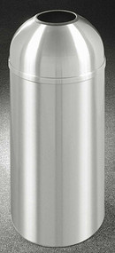Glaro T1536SA New Yorker Open Dome Top Trash Can, 15 x 36, 16 Gallon - Satin Aluminum