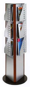 Peter Pepper Model 5670 Rotating Magazine and Literature Rack, 3-sided with 3 pockets per side.