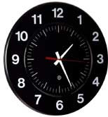 Peter Pepper Model 330 Round Wall Clock in Black with White Lettering