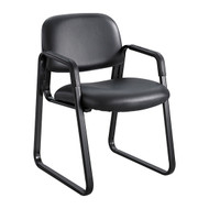 Safco Cava Urth Sled Base Side Chair Black Vinyl 7047BV