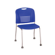 Safco Vy Straight Leg Stack Chair w/ Caster 4291BU - Carton of 2