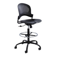 Safco Zippi Plastic Extended Height Black Chair / Stool 3386BL