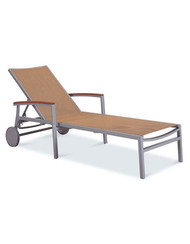 Gar Bayhead Synthetic Teak  Sun Lounger with Arms