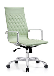 Woodstock Annie High Back Leather Chair - Sea Foam Green