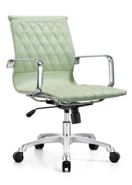 Woodstock Annie  Mid Back Leather Chair - Sea Foam Green