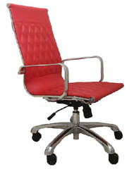 Woodstock Annie High Back Leather Chair - Red