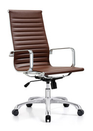 Woodstock Joplin Leather High Back Chair - Brown