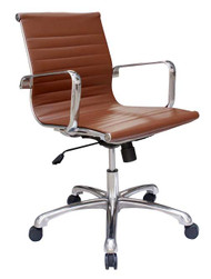 Woodstock Joplin Mid Back Leather Chair - Brown