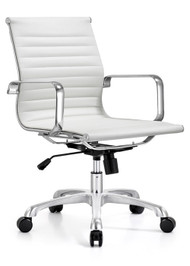 Woodstock Joplin Mid Back Leather Chair - White