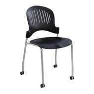 Safco Zippi Plastic Stack Chair Black 3385BL - Carton of 2