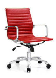 Woodstock Joplin Mid Back Leather Chair - Red
