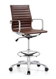 Woodstock Joplin Mid Back Leather Stool - Brown