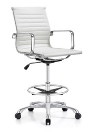 Woodstock Joplin Mid Back Leather Stool - White