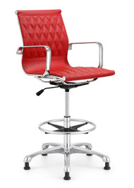 Woodstock Annie Mid Back Leather Stool - Red